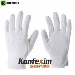 Rękawice bawełniane zamiast gumowych ( nakrapiane )